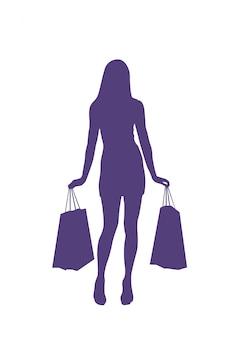 Die schattenbild-frau, die einkaufstaschen hält, lokalisierte weibliche verkäufe und rechnet konzept ab