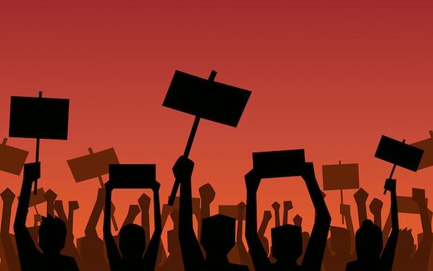 Die schattenbildgruppe von personen, die faust und zeichen angehoben wird, protestieren im flachen ikonendesign auf rote farbhintergrund