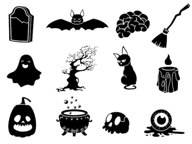Die schattensammlung von halloween-silhouetten-symbol und -charakter. die website im halloween-festival. vektor-clipart-illustration isoliert auf weißem hintergrund