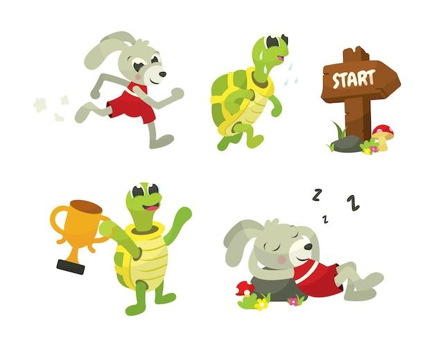 Die schildkröten-und hasen-geschichten-buch-illustration Premium Vektoren