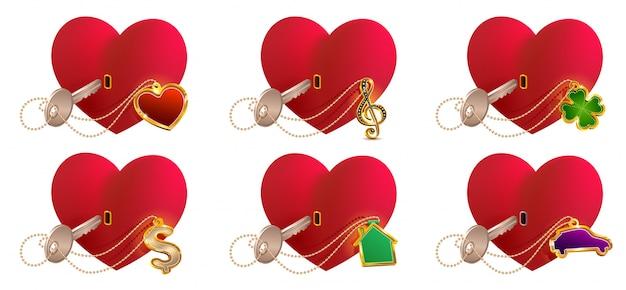 Die schlüsselliebe ist es, ein herzförmiges schloss zu öffnen. valentinstag herz symbol liebe