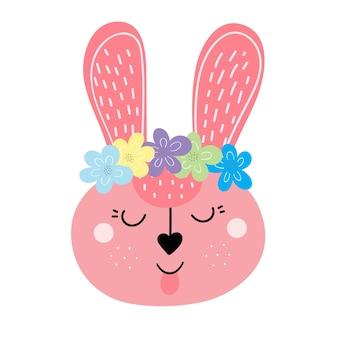 Die schnauze des rosa kaninchens ist mit einer blumenkranz-vektorillustration verziert