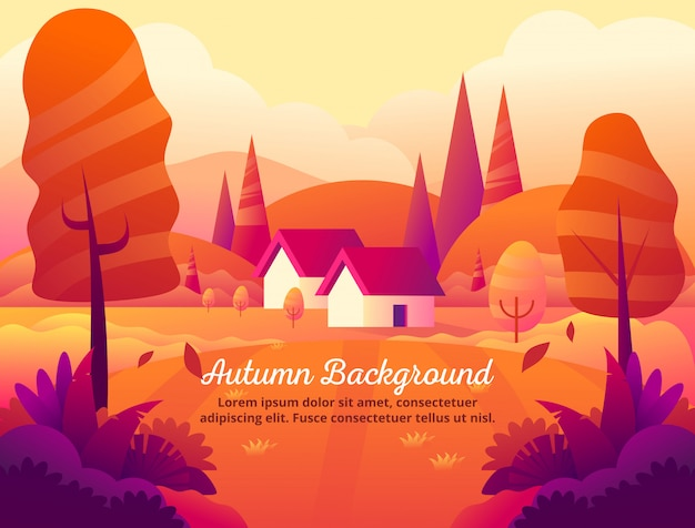 Die schönheit der orange hintergrundvektorillustration des herbstes