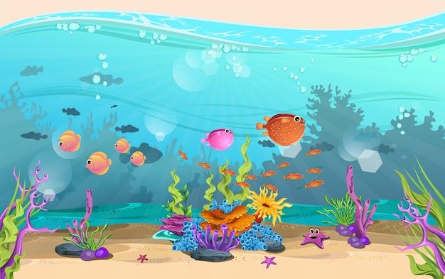 Die schönheit der unterwasserlandschaft. fische und korallenriffe sind wunderschön.