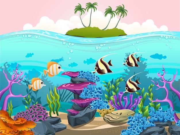 Die schönheit des meereslebens mit einer vielzahl von verschiedenen lebensräumen, korallenriffen und bunten algen veranschaulichen