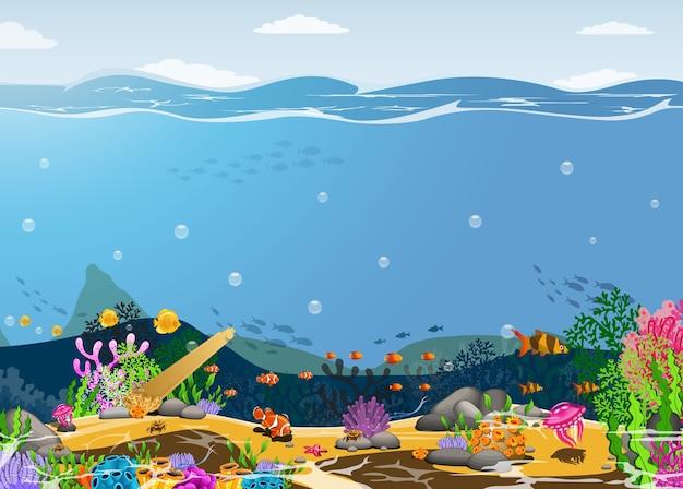 Die schönheit des unterwasserlebens mit einem anderen wohnsitz