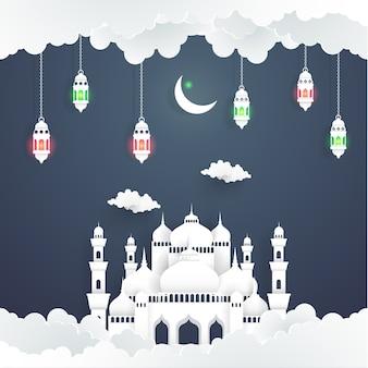 Die schönheit von ramadan kareem mit der illustration der moschee und des mondes. papierkunst s