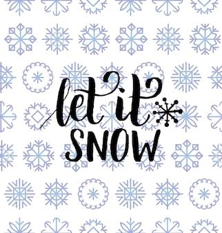 Die schönste zeit des jahres schriftzug design auf schneeflocken hintergrund. nahtloses muster weihnachten oder neujahr. frohe feiertage typografie für grußkartenvorlage oder plakatkonzept.