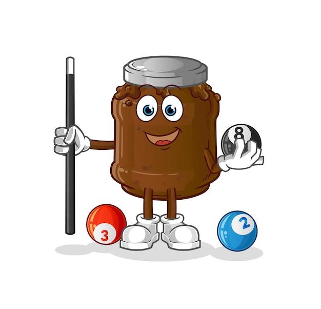 Die schokoladenmarmelade spielt billardcharakter. cartoon maskottchen