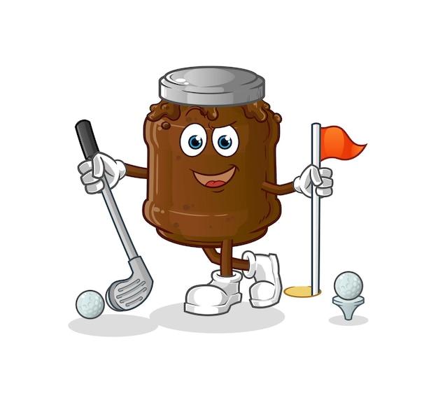 Die schokoladenmarmelade spielt golf. zeichentrickfigur