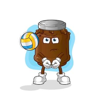 Die schokoladenmarmelade spielt volleyball-maskottchen. karikatur