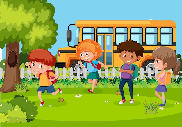 Die schüler gehen mit dem bus zur schule
