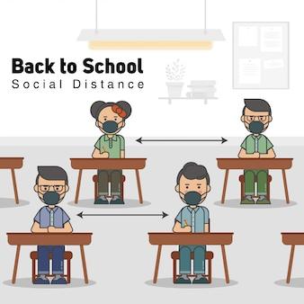 Die schüler im klassenzimmer tragen eine maske