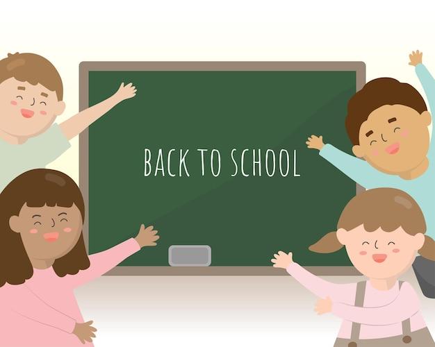 Die schüler kommen im kommenden semester wieder zur schule. sie freuen sich, ihre freunde zu sehen und wieder zusammen zu lernen.