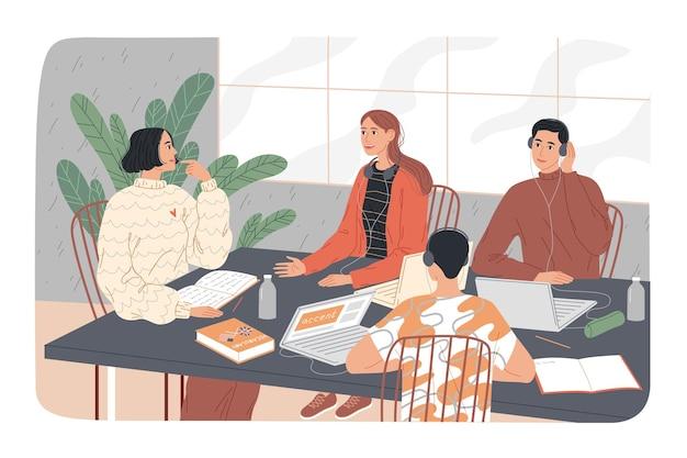 Die schüler lernen englisch. mädchen zeigt ihrer klassenkameradin, wie man den ton und den ton ausspricht