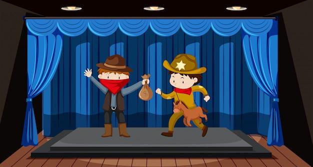 Die schüler spielen theater auf der bühne