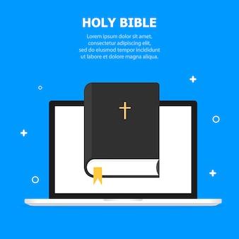 Die schwarze bibel ist auf der bildschirmvorlage des laptops abgebildet