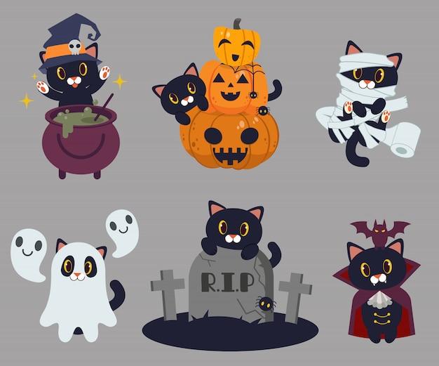 Die schwarze katze zauberte mit dem weißen topf. halloween.