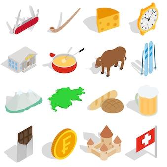 Die schweiz-ikonen stellten in die isometrische art 3d ein, die auf weißem hintergrund lokalisiert wurde