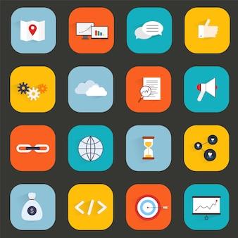 Die seo-marketing-flachen ikonen, die mit schlüsselwortsuchlink-optimierungsgeschwindigkeit eingestellt wurden, lokalisierten vektorillustration