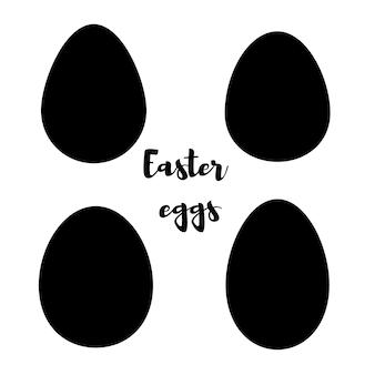 Die silhouette der eier ist gegen einen weißen hintergrund isoliert. vektor-illustration.