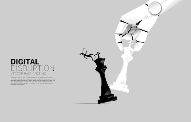 Die silhouette der geschäftsfrau rutscht aus und fällt von der roboterhand herunter, um die schachfigur zum schachmattkönig zu bewegen. geschäftskonzept für maschinelles lernen, künstliche intelligenz und störung.