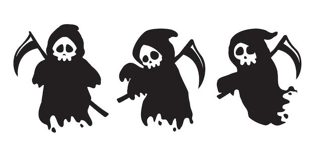 Die silhouette der totenleiche, die einen schwarzen schleier trägt. komm und hol deine seele an halloween.