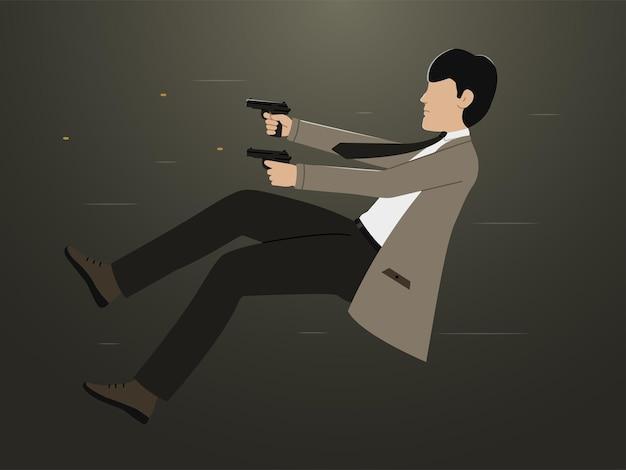Die silhouette eines mannes, der pistolen schießt