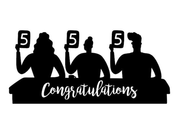 Die silhouetten der jury zeigten die besten noten. silhouette beurteilen und glückwünsche unterschreiben