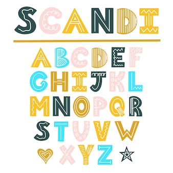 Die skandinavische farbe helles alphabet schriftdesign im skandinavischen stil