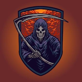 Die skelett-sensenmann-illustration