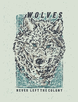 Die skizze des schneewolfs mit hand zeichnen illustration