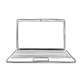 Die skizze eines offenen laptops mit einem leeren platz für text auf dem bildschirm. handgezeichnetes schwarzweiß