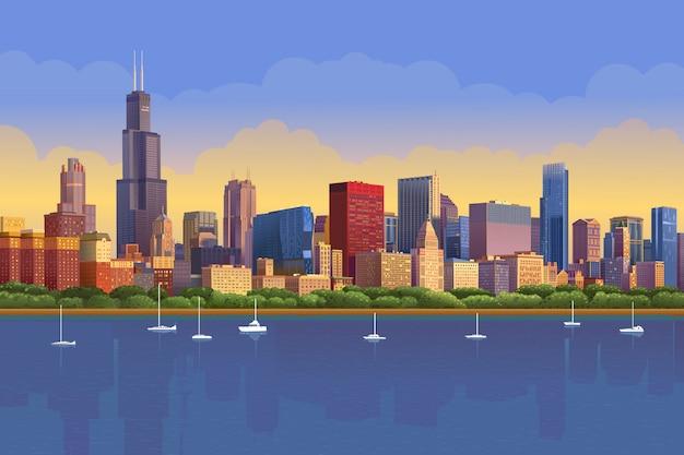 Die skyline von chicago im sonnigen sonnenuntergang spiegelte sich im wasser wider. chicago yacht panorama