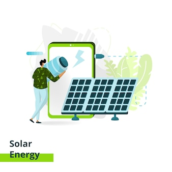 Die solar energy landing page, das konzept von männern, die batterien vor smartphones tragen