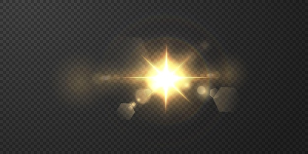 Die sonne scheint helle lichtstrahlen mit realistischer blendung. heller stern auf einem transparenten schwarzen hintergrund.