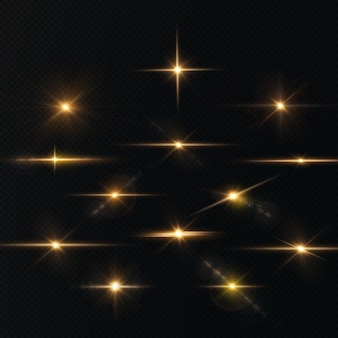 Die sonne scheint helle lichtstrahlen mit realistischer blendung light star gold christmas