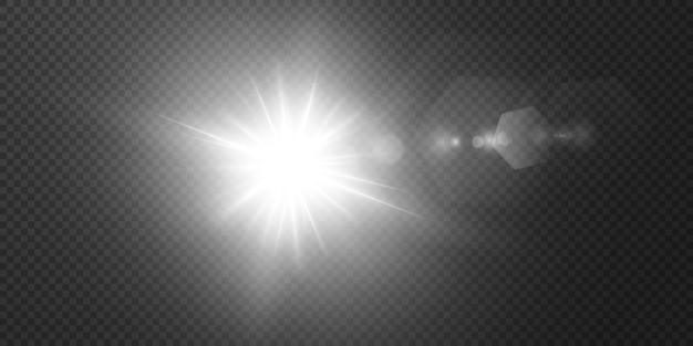 Die sonne scheint helle lichtstrahlen mit realistischer blendung