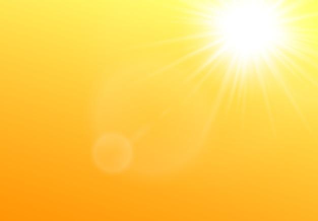 Die sonne scheint in der realistischen illustration des himmels auf gelbem hintergrund