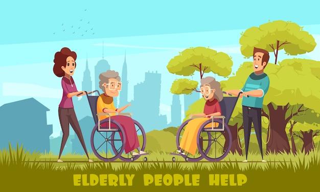 Die sozialarbeiterkrippenheimfreiwilligen, die ältere personen nehmen, behindern leute in der flachen karikatur der rollstühle im freien