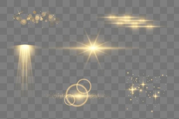 Die spezialeffekte von licht, streulicht, stern und explosion leuchten. funke