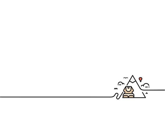 Die sphinx von gizeh und pyramide. vektor flache strichzeichnung.