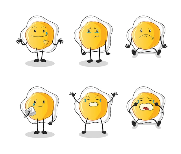 Die spiegeleier trauriger gruppencharakter. cartoon maskottchen