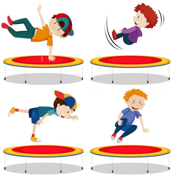 Die springende trampoline des jungen auf weißem hintergrund