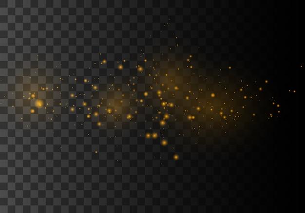 Die staubfunken und goldenen sterne leuchten mit besonderem licht.