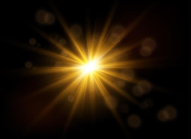 Die staubfunken und goldenen sterne leuchten mit speziellem licht funkelnde magische staubpartikel innenlager interior