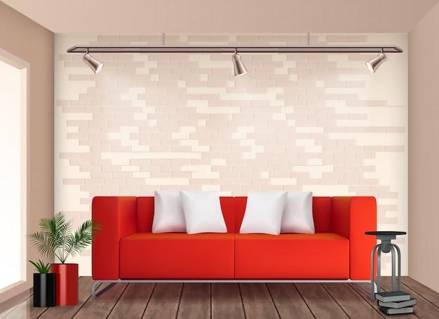 Die stilvolle innenarchitektur des kleinen raumes mit rotem sofa und blumentopf erhellen realistische illustration der neutralen wände