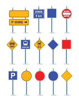 Die straßenstraßenverkehrszeichen gesetzt, kreuzung