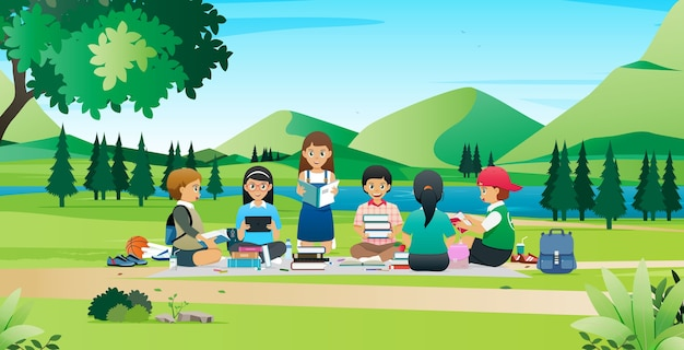 Die studenten treffen sich und arbeiten zusammen, um berichte im park zu recherchieren.