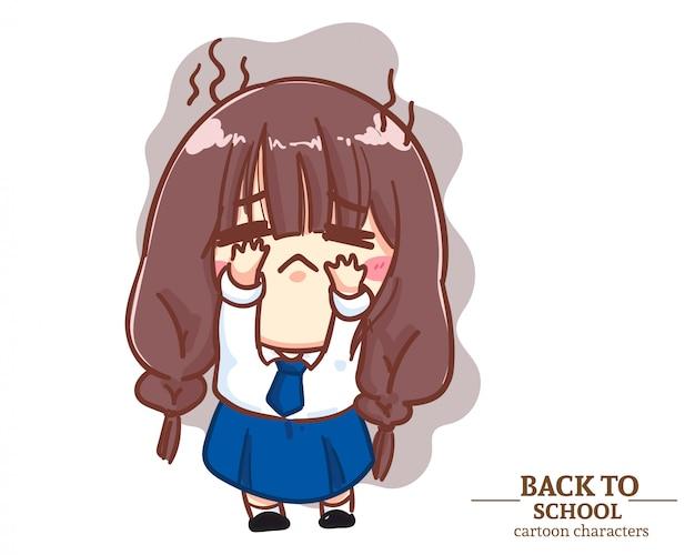 Die studentenuniformen der niedlichen mädchenkinder waren in der schule enttäuschend. karikaturillustration premium-vektor